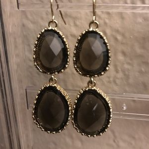 Gold Dangle Earrings w/Brown Faceted Resin Stones